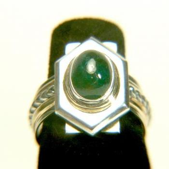 3 Carats Colombian Emerald Silver and 14K Gold Ring