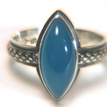 Blue Botswana Agate Sterling Ring